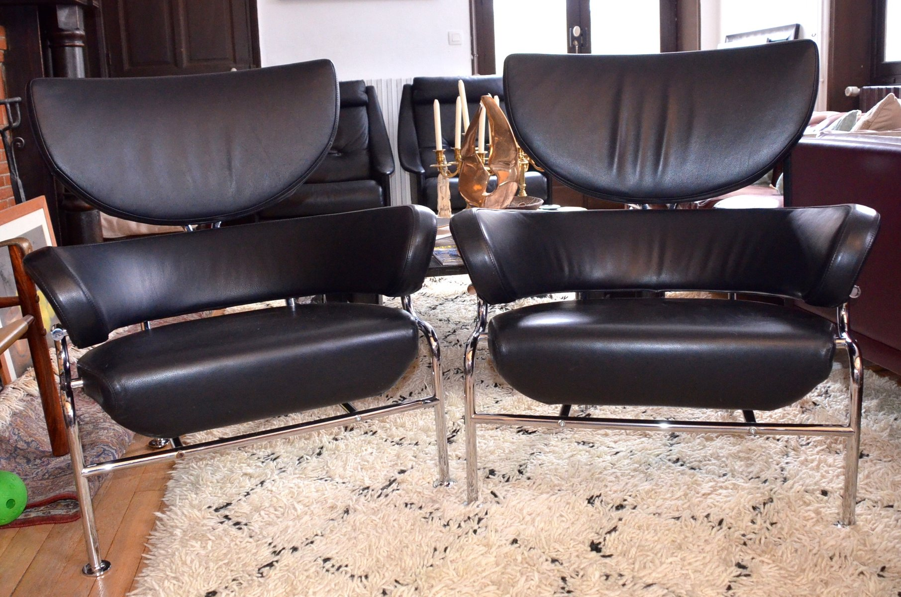 Sedia Cassina Vintage Vintage Tre Pezzi Black Leather Armchairs By Franco Albini For Cassina Set Of 2