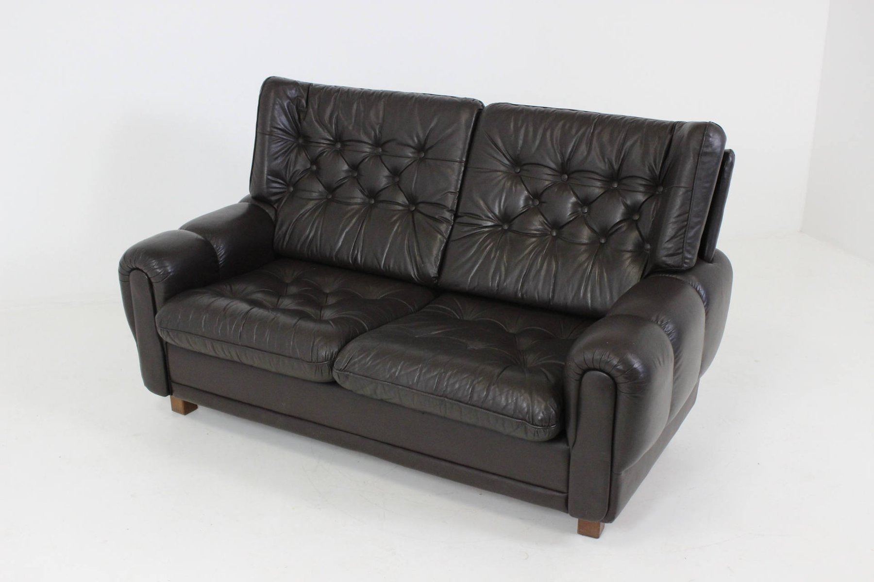 Mid Century Black Leather Sofa For Sale At Pamono