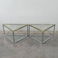 Glass Side Tables, 1970s, Set of 2 for sale at Pamono