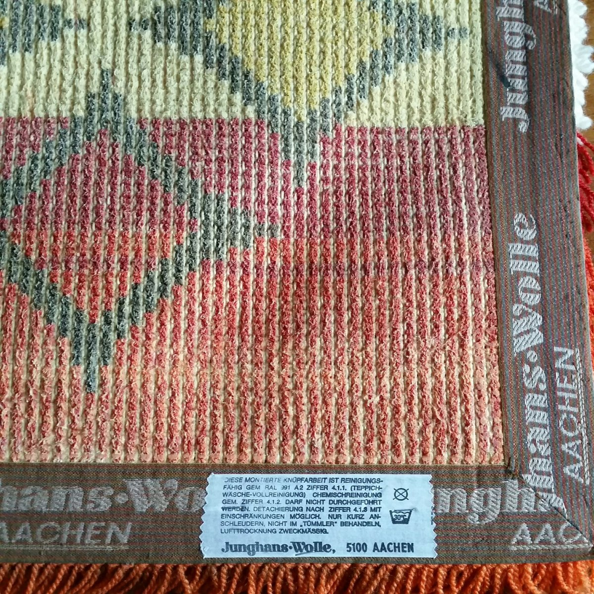 Junghans Wolle Teppiche Woolen Kilim From Junghans Wolle 1970s