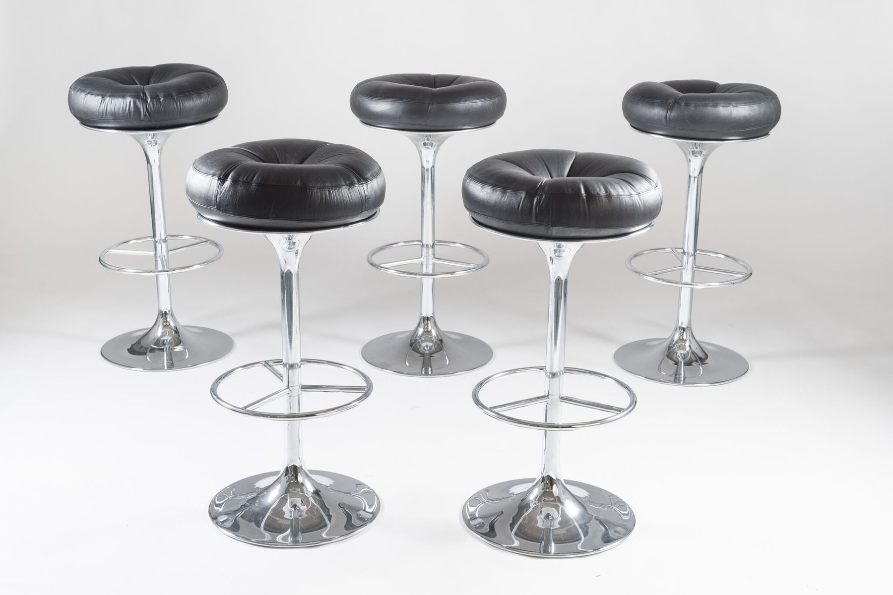 Swedish Bar Stools Swedish Chrome And Leather Bar Stools From Johanson Design