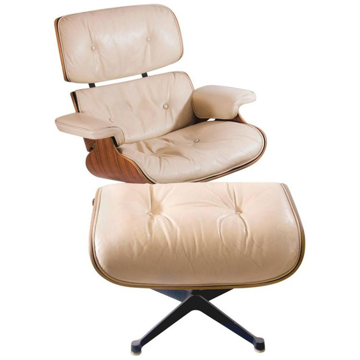 Charles & Ray Eames Sessel Lounge Sessel Mit Hocker Von Charles Ray Eames Für Mobilier International 1960er