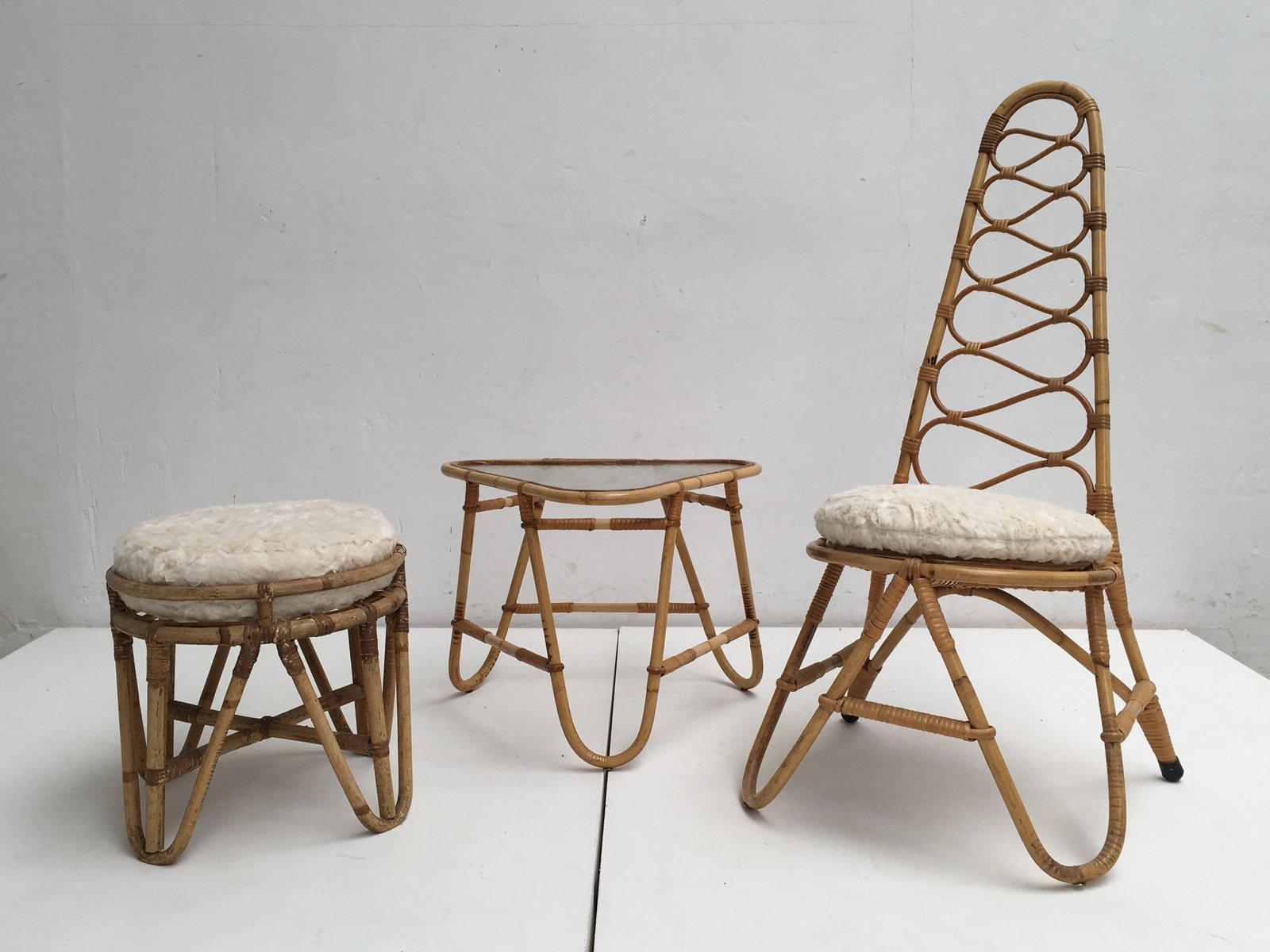 Bank Rattan Rattan Stool Table Highback Chair With Faux Fur Cushions From Rohé Noordwolde 1950s