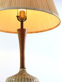 Vintage Plaster and Wood Table Lamp, 1950s for sale at Pamono