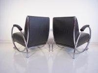 Mid-Century Black Leather Armchairs with Tubular Chrome ...