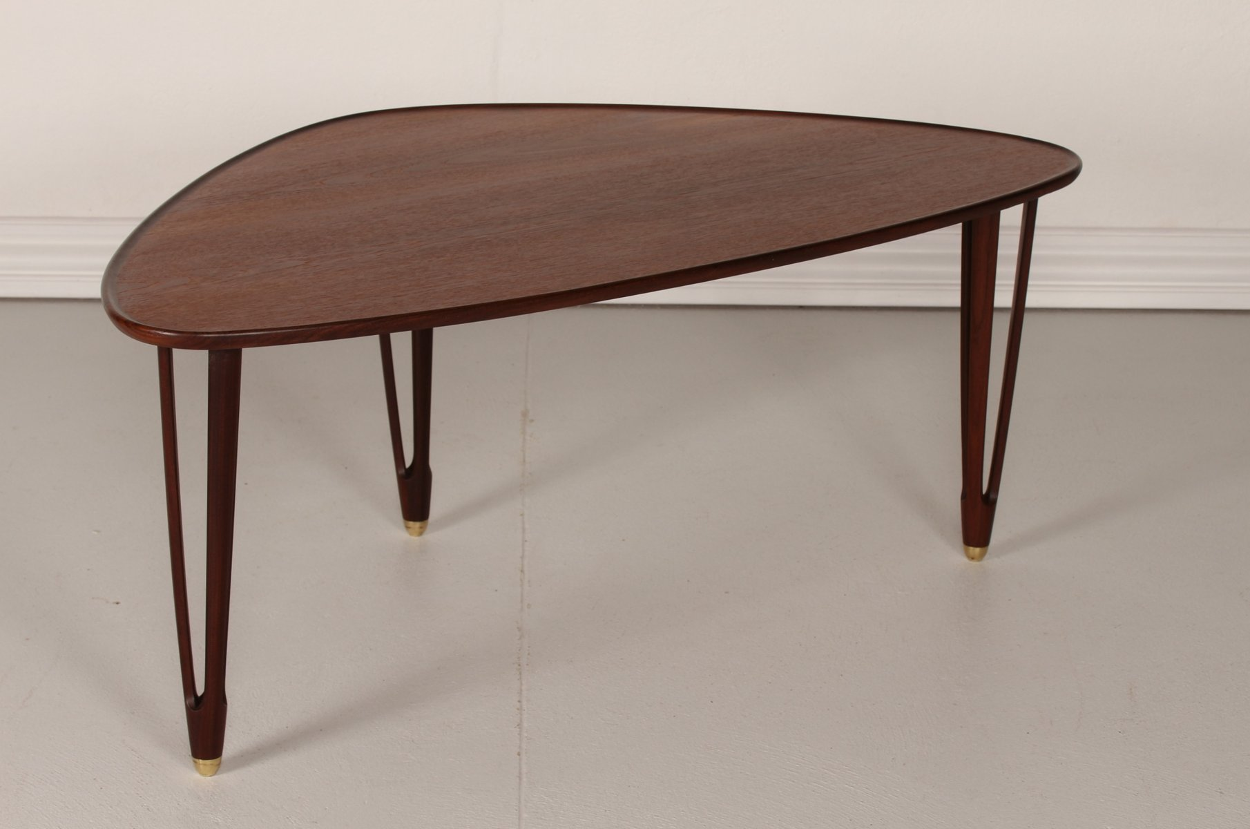 Triangular Table Plans Vintage Danish Triangular Coffee Table In Teak 1950s For
