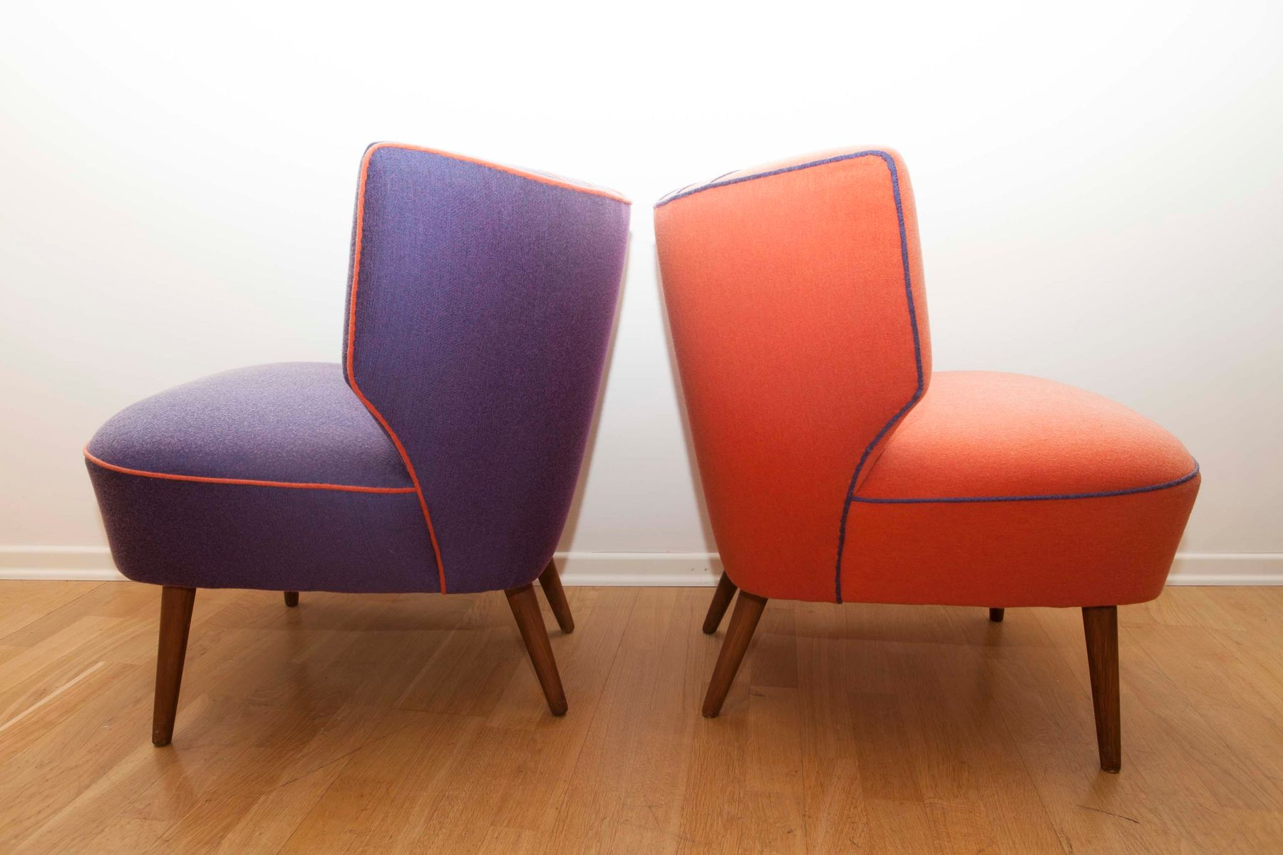 Sessel Lila Mid Century Sessel In Orange Lila 1950er 2er Set