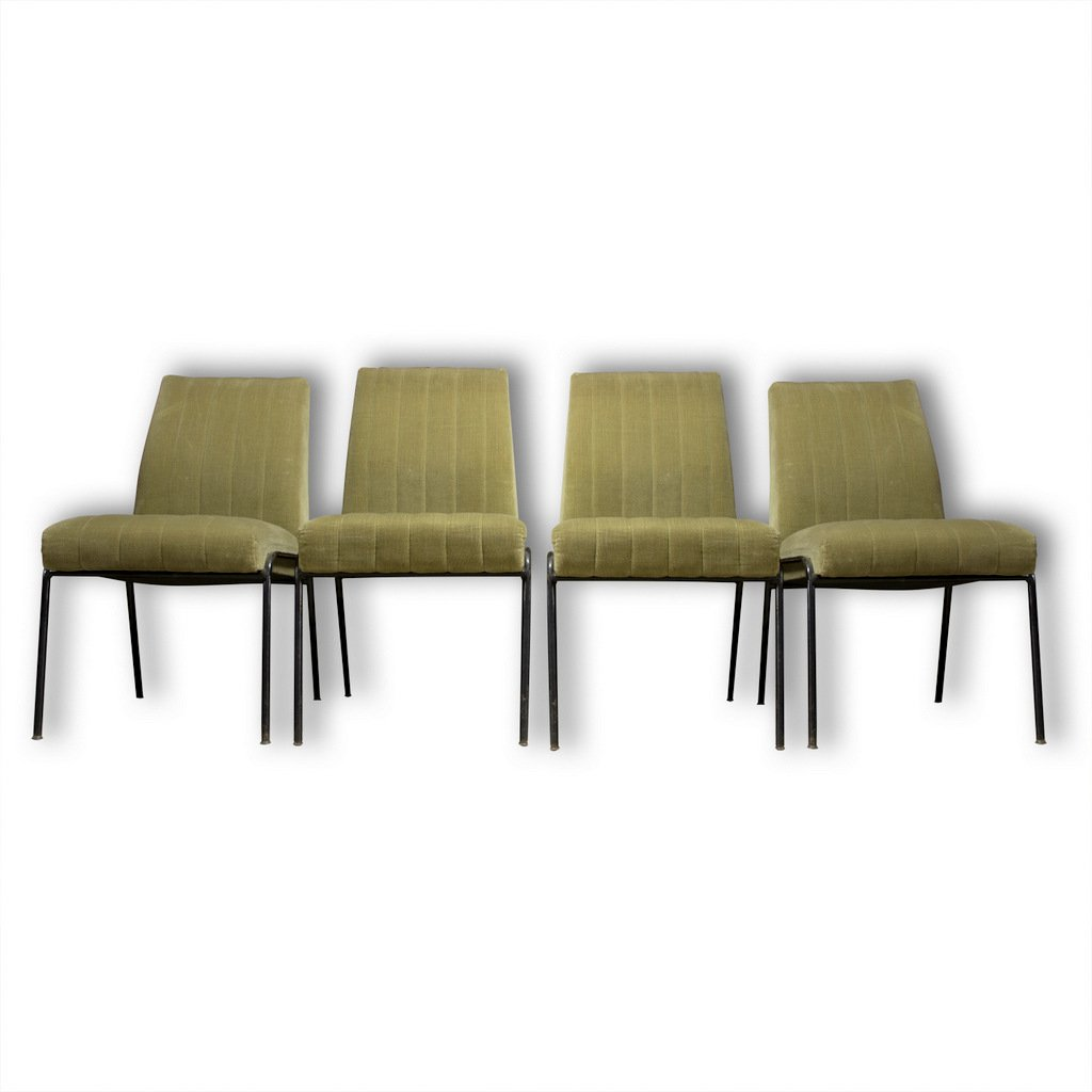 Metall Sessel Mid Century Metall Wildleder Sessel 4er Set