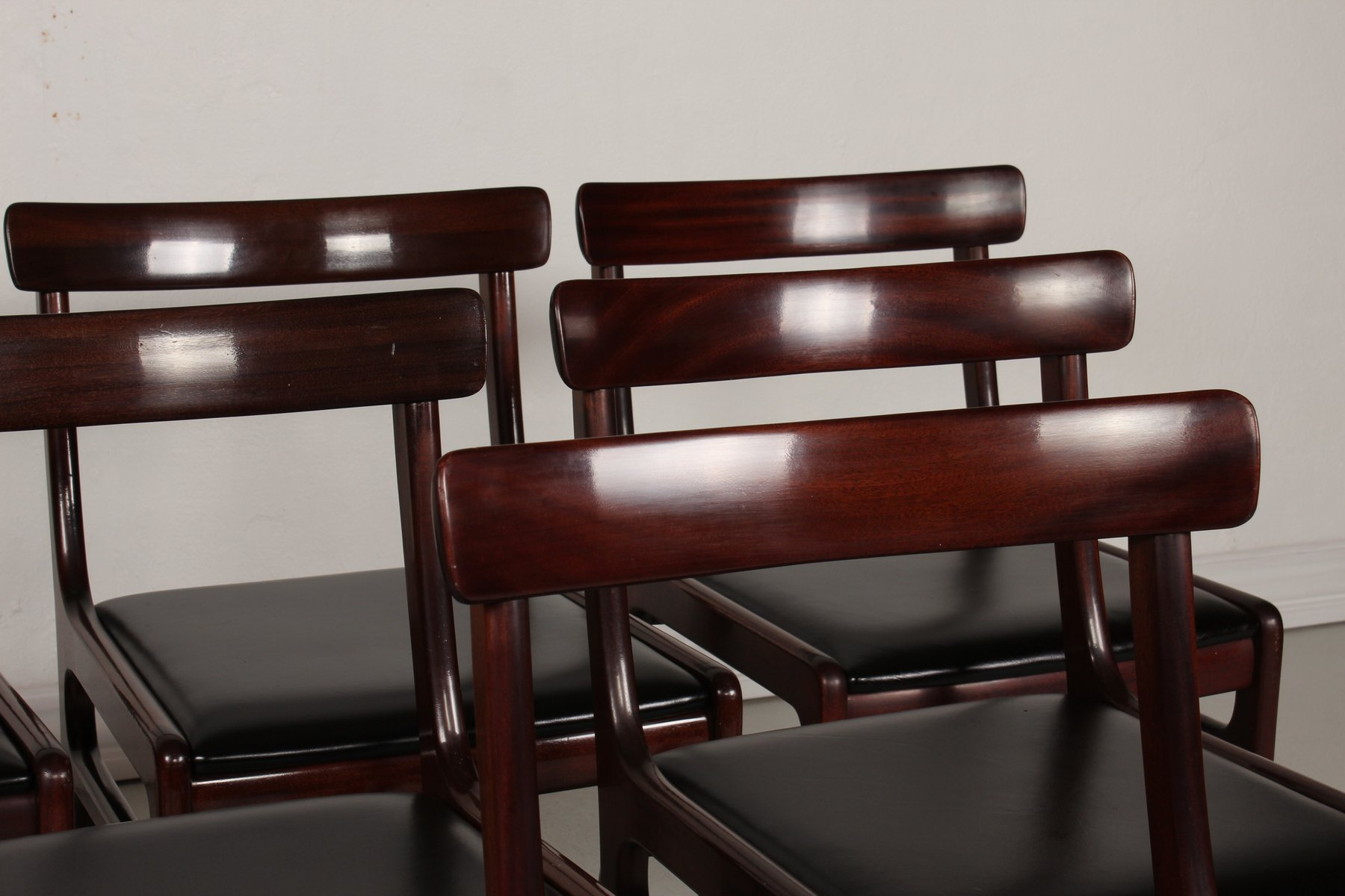 Vintage Danish Rungstedlund Mahogany Leather Chairs By