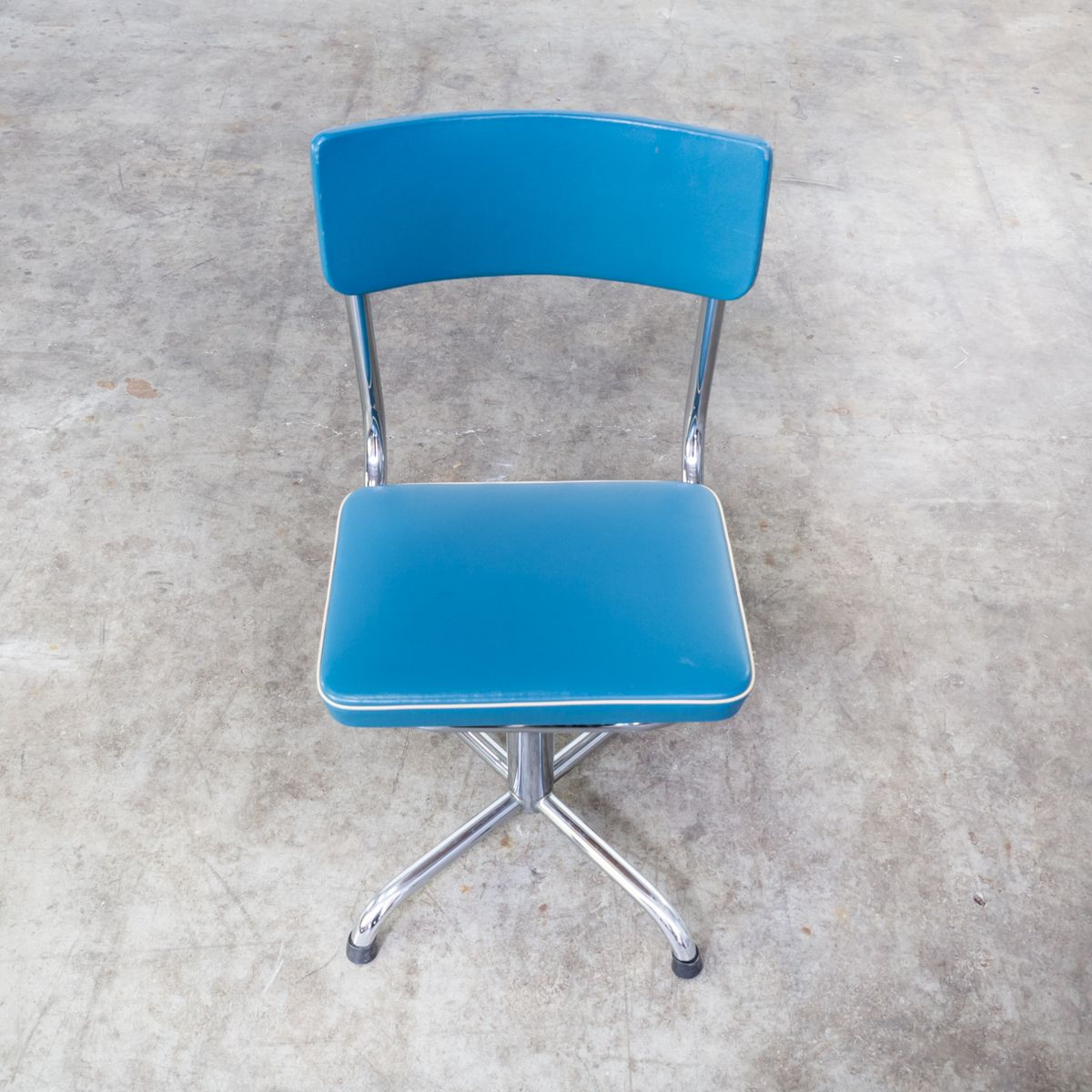 Small Chair For Sale Small Office Chair In Blue Skai With White Trim 1960s For