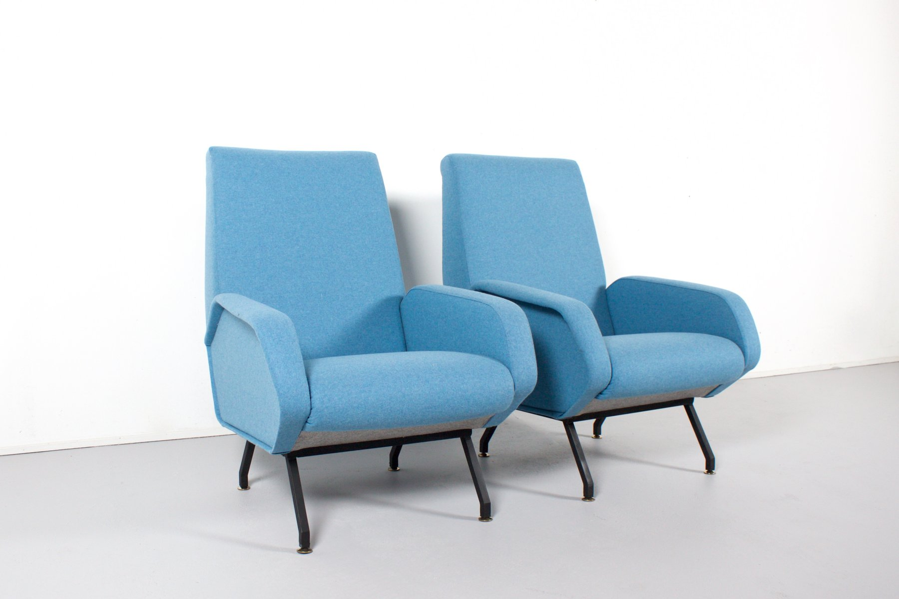 Mid Century Italian Lounge Chairs In Light Blue Wool For
