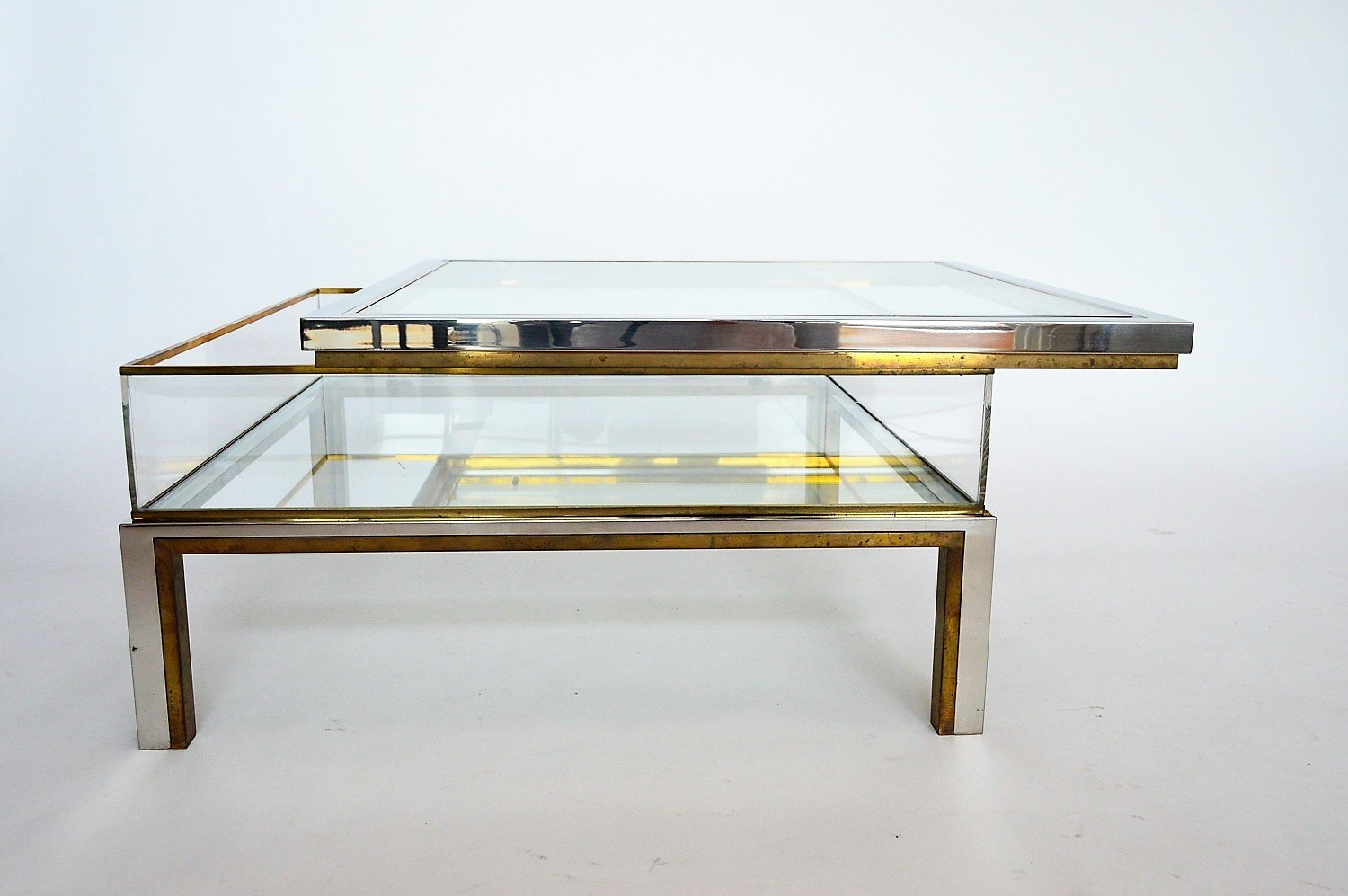 Couchtisch Marvel French Brass And Chrome Coffee Table With Sliding Top