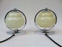 Vintage Art Deco Chrome & Beige Glass Bedside Lamps, Set ...