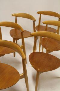 Heart Chairs by Hans Wegner for Fritz Hansen, 1963, Set of ...
