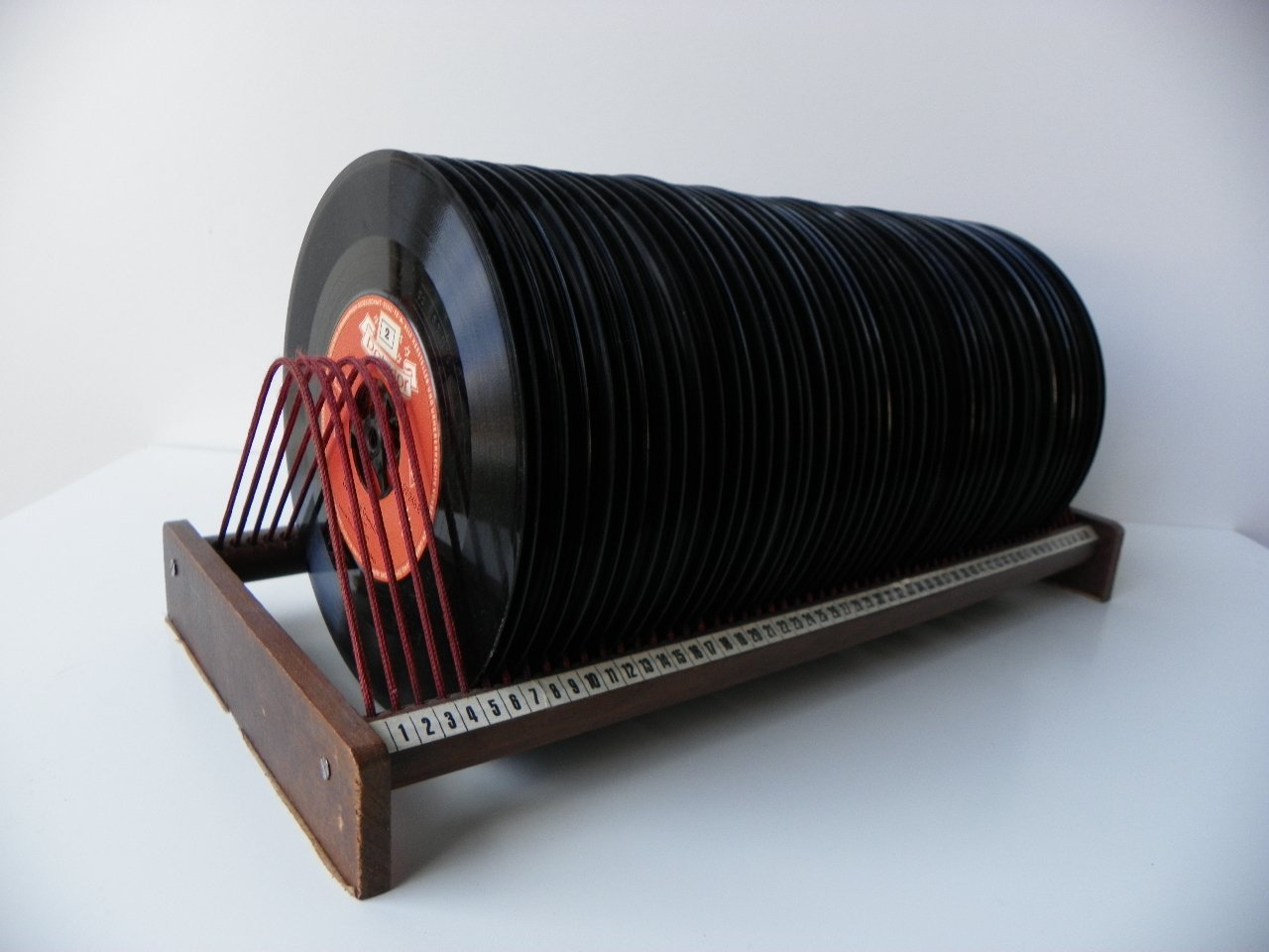 Vinyl Record Rack with Records, 1950s for sale at Pamono