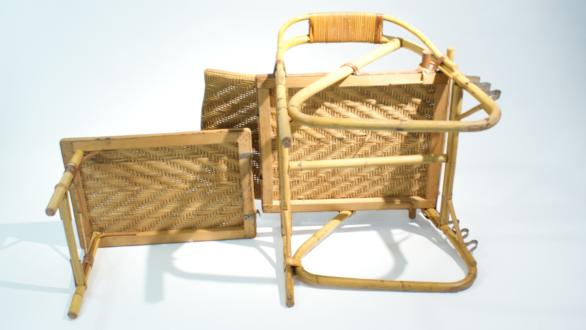 Best Daybeds Canada Adjustable Rattan And Bamboo Lounge Chair, 1940s For Sale