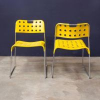 Yellow Omstak Stacking Chairs by Rodney Kinsman, 1971, Set ...