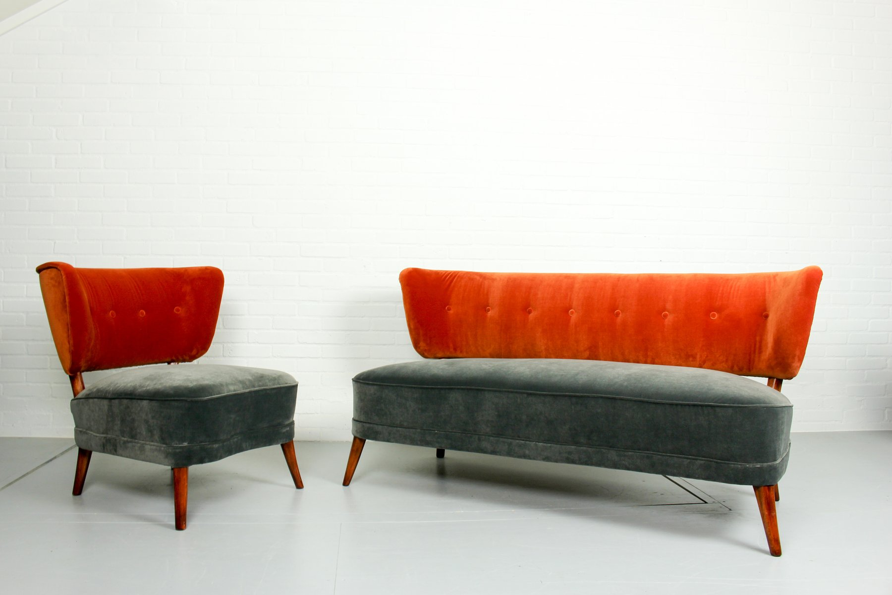 2er Sofa Samt Vintage Cocktail Sessel Und Sofa Aus Samt 1950er 2er Set
