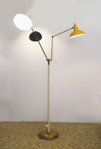 Floor Lamp with 3 Arms in Brass and Painted Aluminium from ...