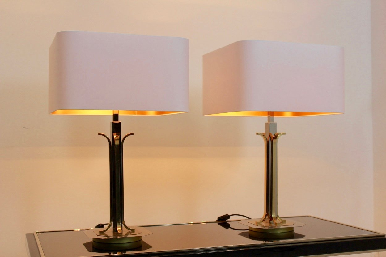 Modern Table Lamps Uk Mid Century Modern Brass And Chrome Table Lamps Set Of 2