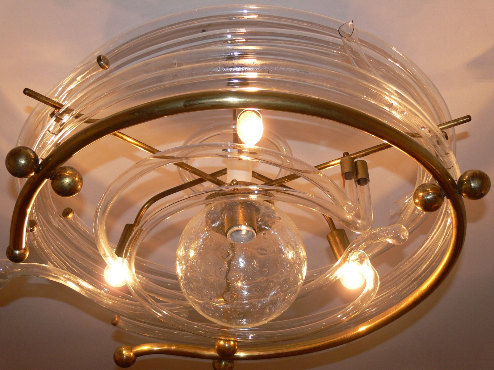 Glas Lampe Messing Vintage Glas And Messing Deckenlampe Bei Pamono Kaufen
