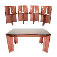 Vintage Smoked Perspex Dining Table & Chairs for sale at ...