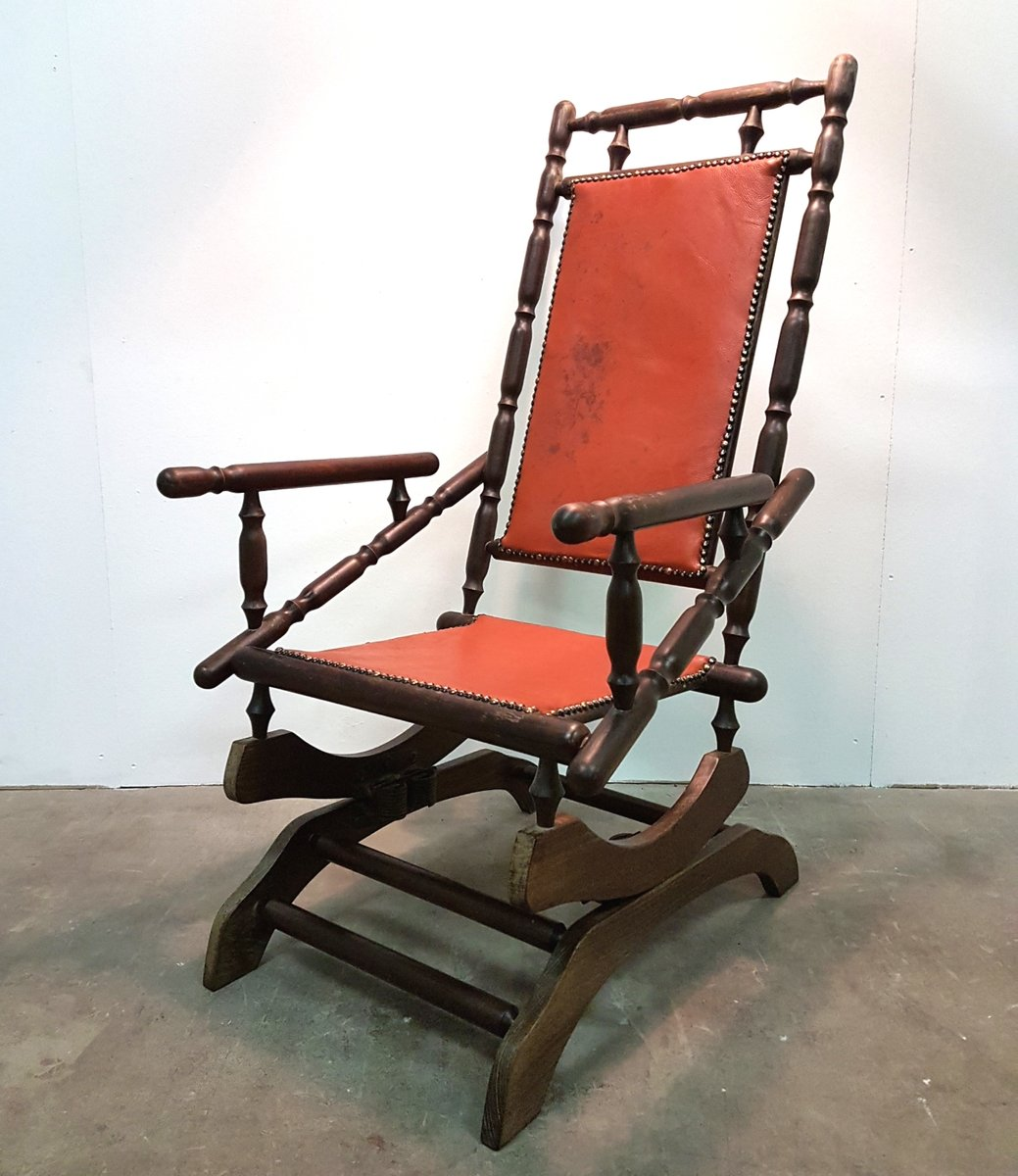 Swedish Rocking Chair Vintage Scandinavian Rocking Chair With Patinated Leather