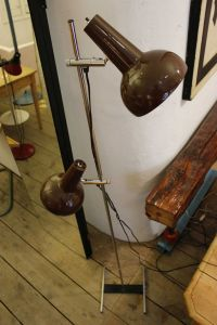 2 Brown Shades Floor Lamp, 1970s for sale at Pamono