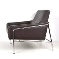 Mid-Century Armchair in Brown Leather and Steel for sale ...