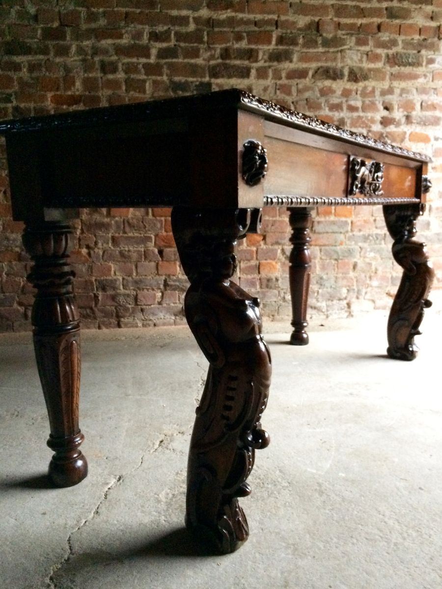 Vintage Hall Table Antique Gothic Victorian Hall Table
