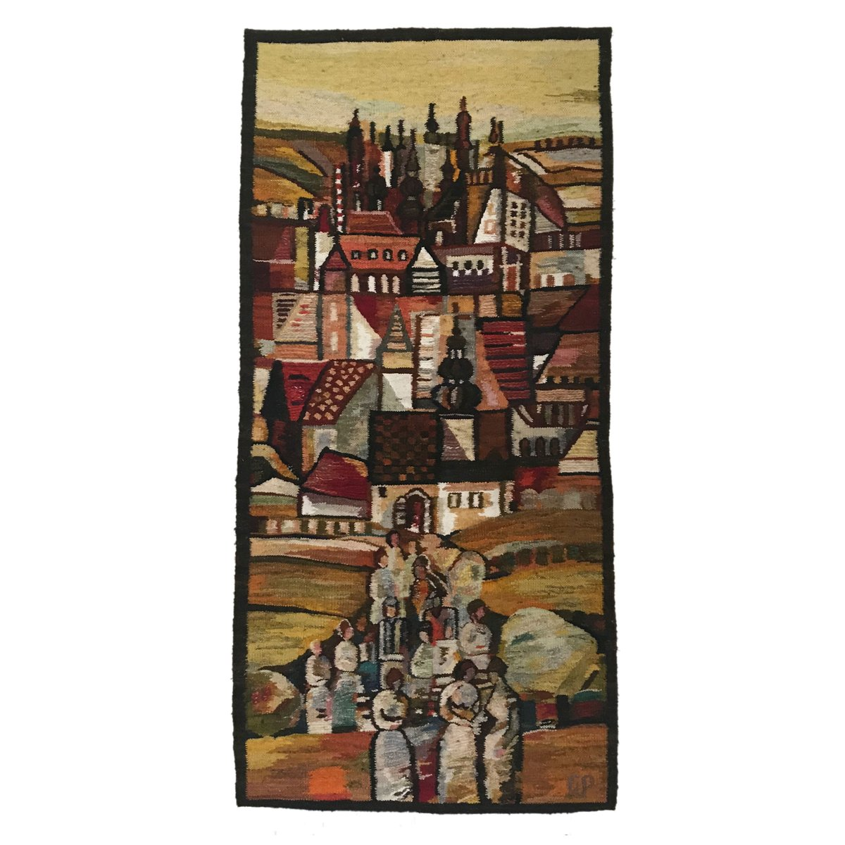 Wandteppich Modern Polish Handwoven Towers Tapestry By Piotr Grabowski For Cepelia 1982