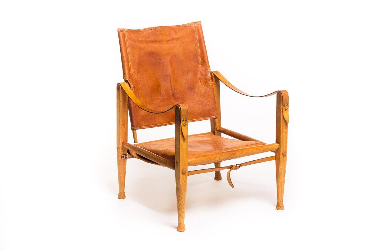 Vintage Leather Safari Chair By Kaare Klint For Rud