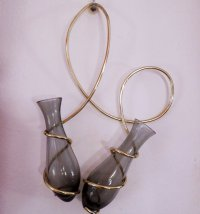 Wall-Mounted Double Glass Vases, 1950s for sale at Pamono