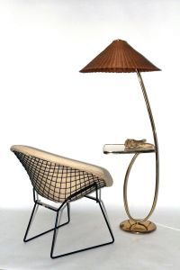 Vintage Brass Floor Lamp with Integrated Table by Rupert
