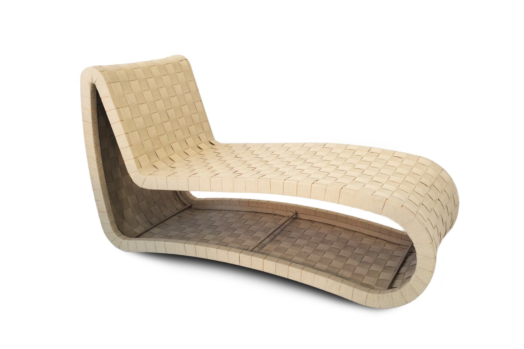 Chaise Nils Scandinavian Plywood Webbing Chaise Lounge 1970s