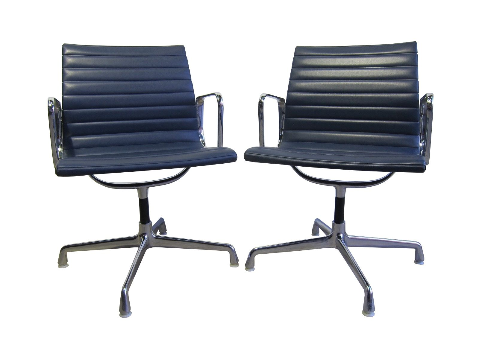 Eames 108 Ea 108 Vinyl Aluminum Chairs By Charles Ray Eames For Herman Miller 1960s Set Of 2
