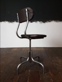 Mid-Century Leather & Steel Industrial Factory Swivel ...