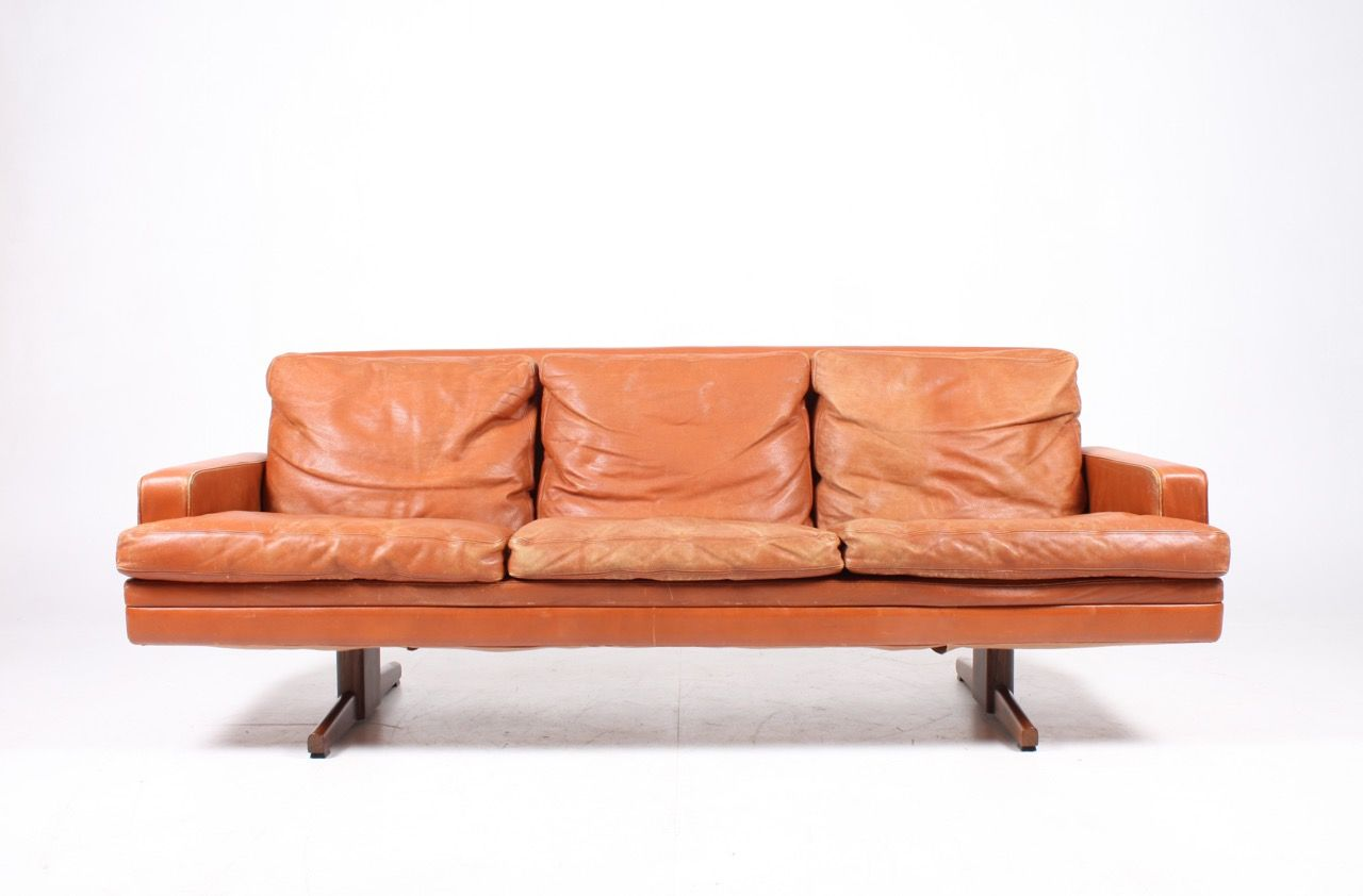 Møbler Sofa 3 Seater Leather Sofa By Fredrik A Kayser For Vatne Møbler 1960s