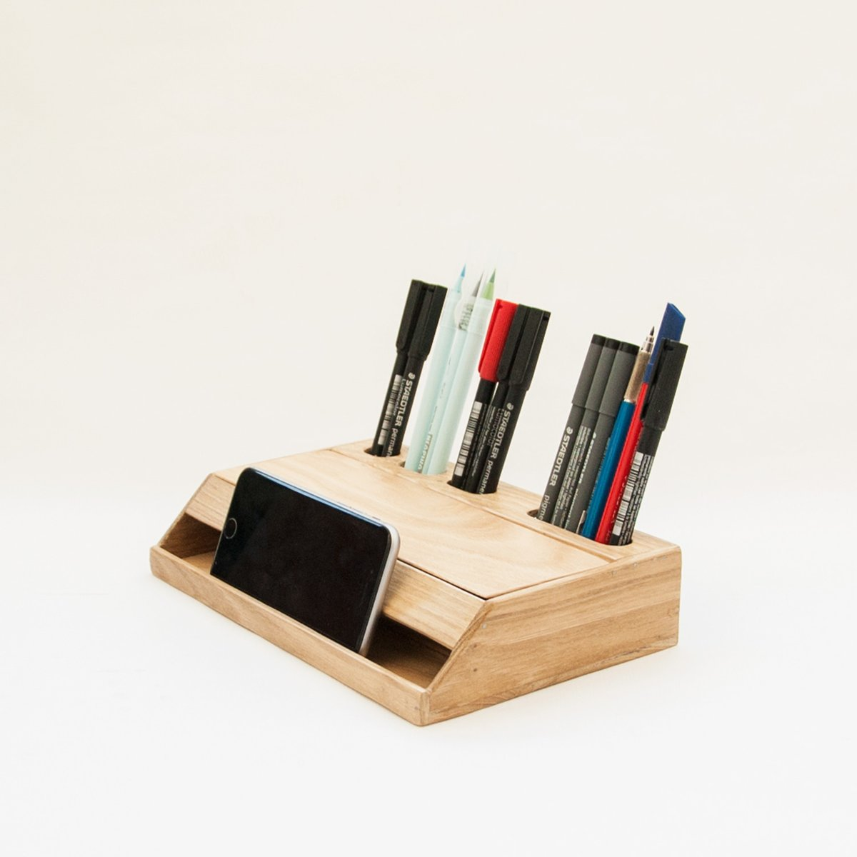 Desk Organizer Wood Handmade Estuche Wooden Desk Organizer And Smartphone