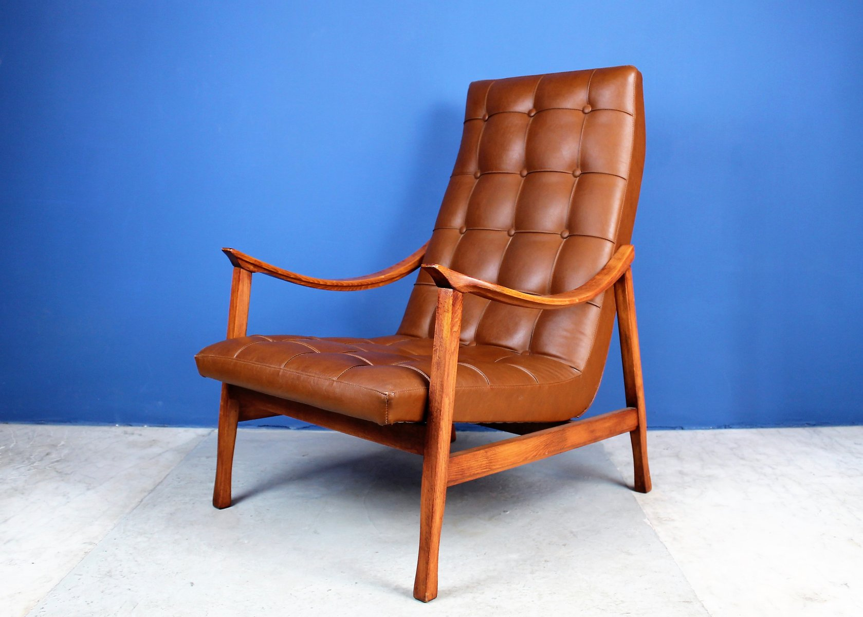 Mid Century Scandinavian Lounge Chair In Solid Wood And