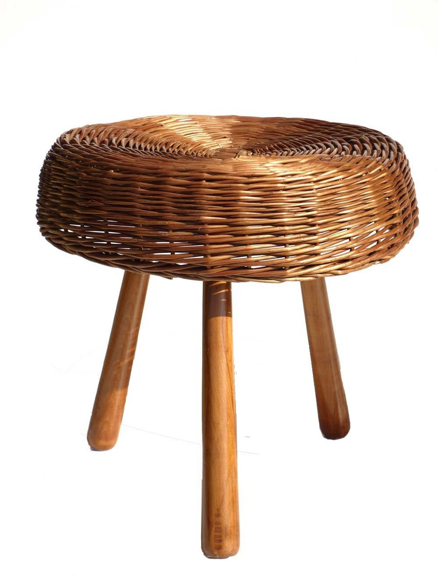 Rattan Hocker Geflochtener Rattan Hocker Von Tony Paul 1950er 2er Set