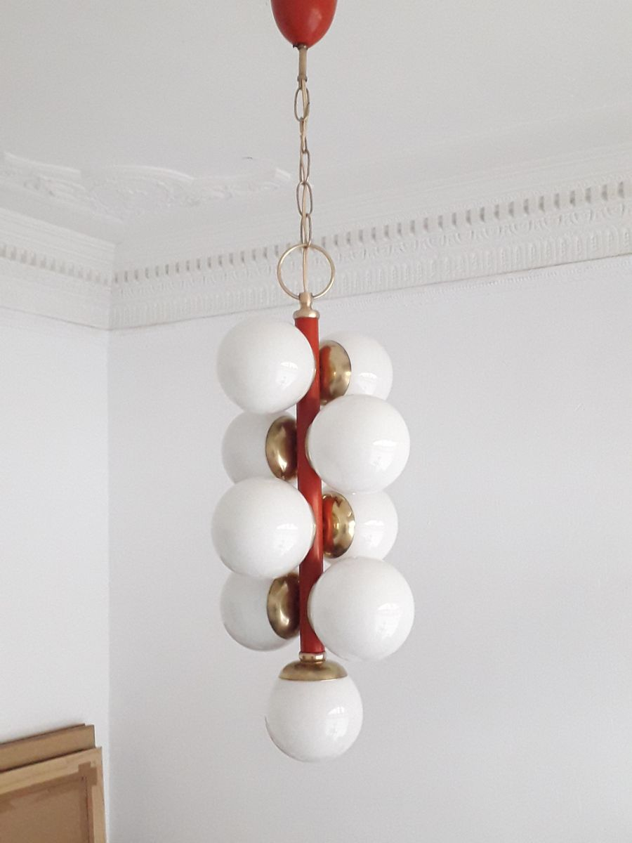 Vintage Opaline Glass Globes Pendant Lamp for sale at Pamono