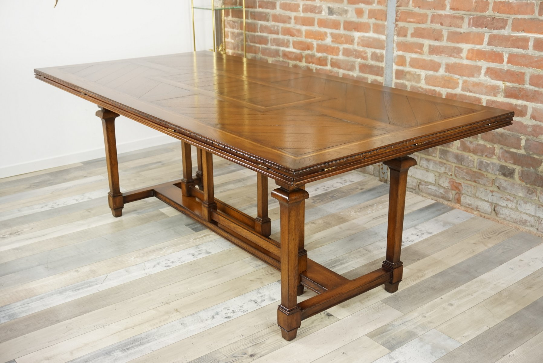 Superb Vintage Wooden Marquetry Modular Dining Table For Sale At