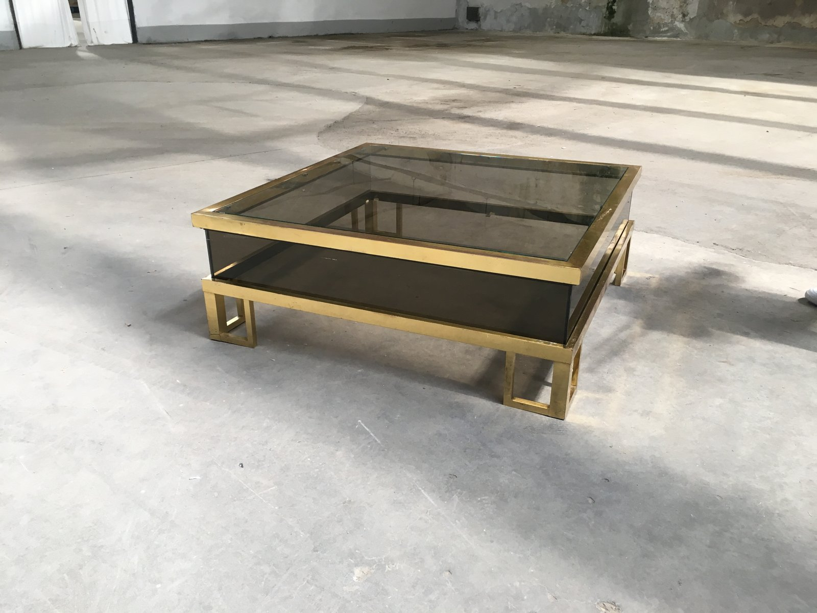 Couchtisch Glas Verschiebbar Vintage French Brass Coffee Table With Sliding Glass Top
