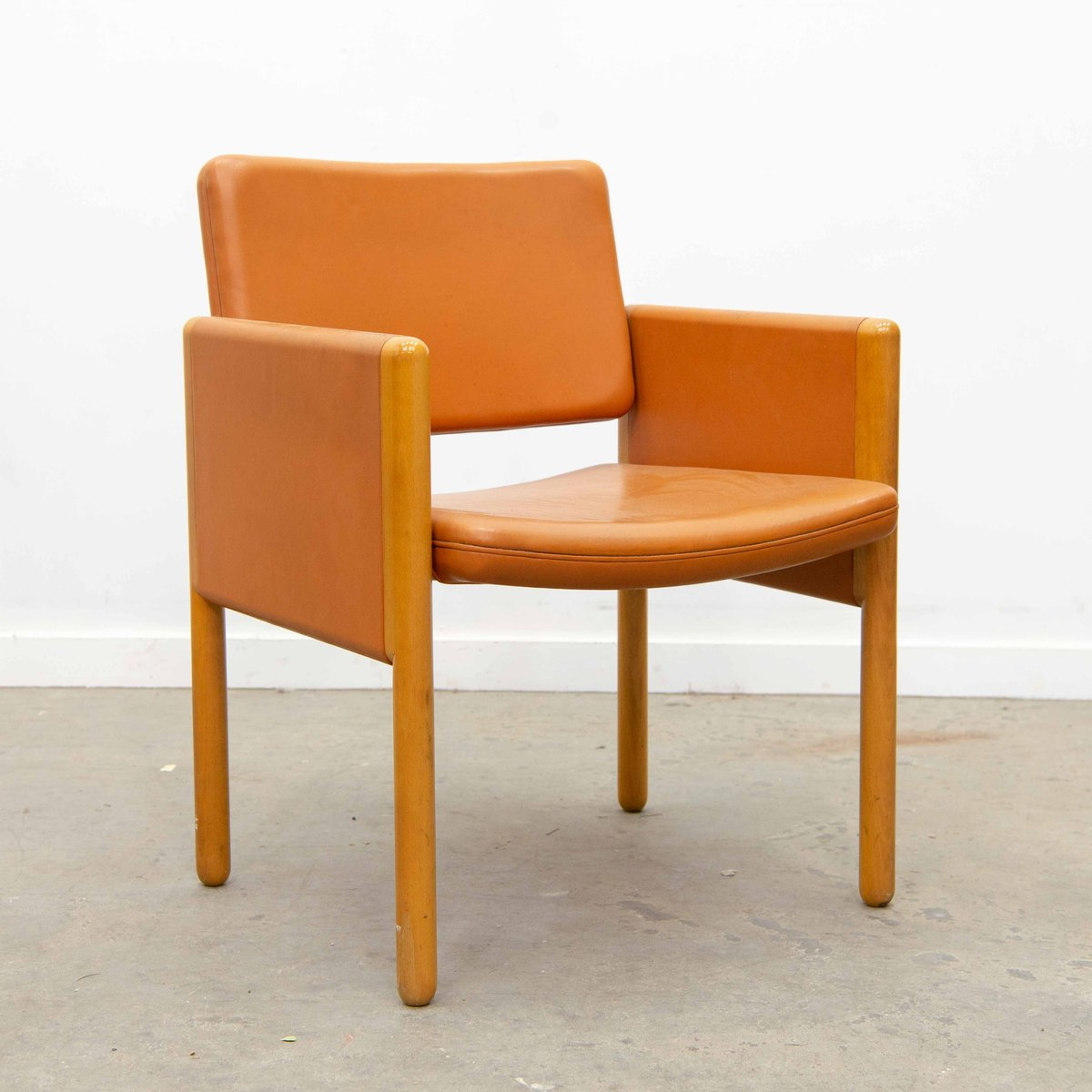 Knoll International Leather And Wood Armchair From Knoll International 1980s
