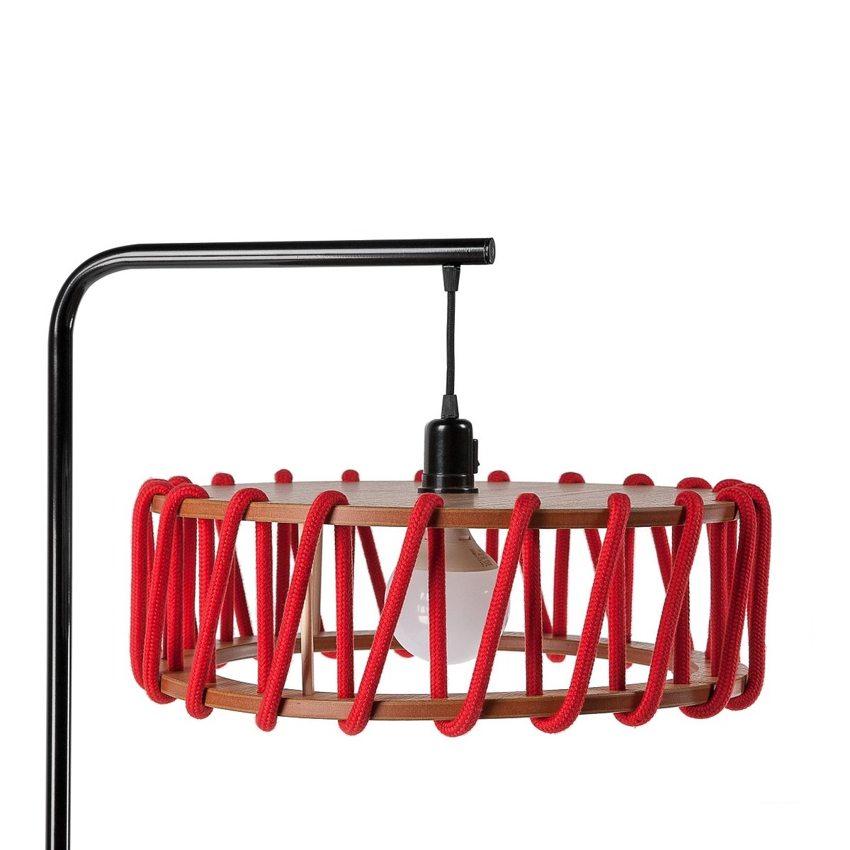 Black Macaron Floor Lamp with Large Red Shade by Silvia