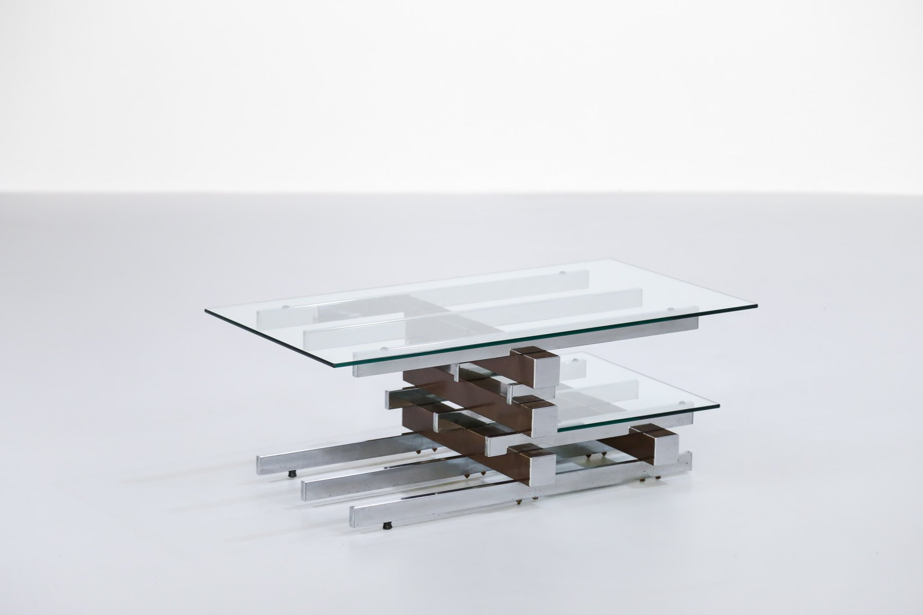 Chrome Coffee Table Vintage Glass And Chrome Coffee Table For Sale At Pamono