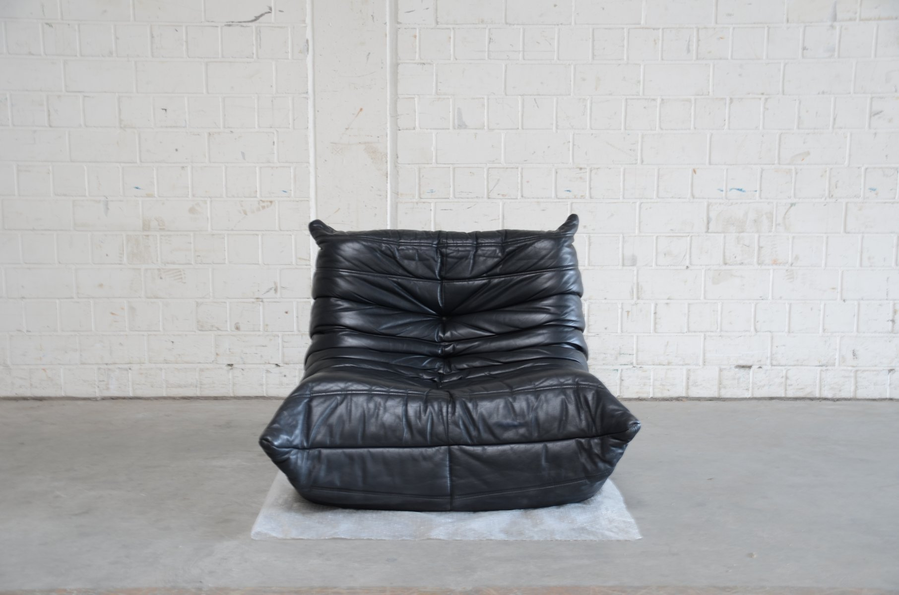 Togo Sofa Dimensions Vintage Togo Chair And Ottoman In Black Leather By Michel Ducaroy For Ligne Roset