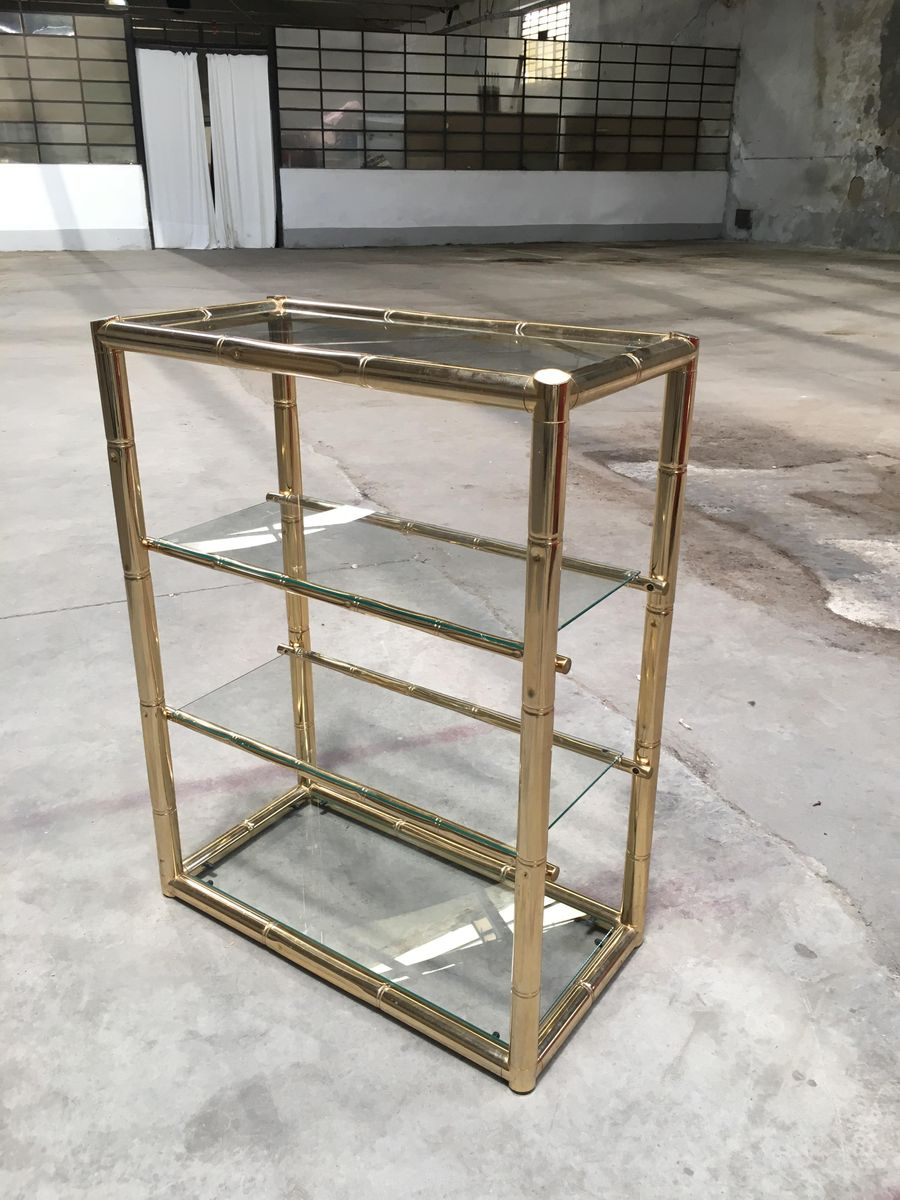 Etagère Métal Mid Century Bamboo Styled Gilded Metal Glass Etagere