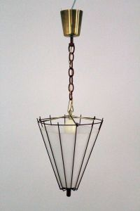 Burgundy Painted Kitchen Lamp, 1950s for sale at Pamono